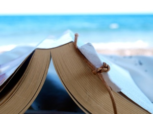 Reading a book at the beach