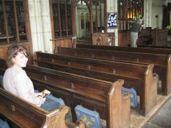 Dr. Nixon in the church where two characters from Thomas Hardy's Jude the Obscure get married.